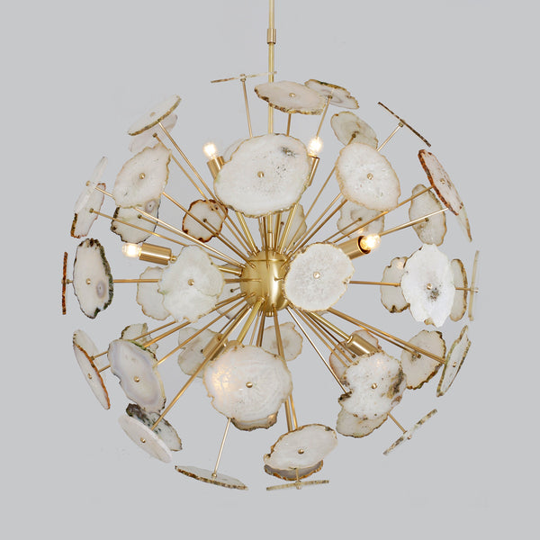 "Modern Brass Large Agate Sliced Orb Chandelier - 24""D"