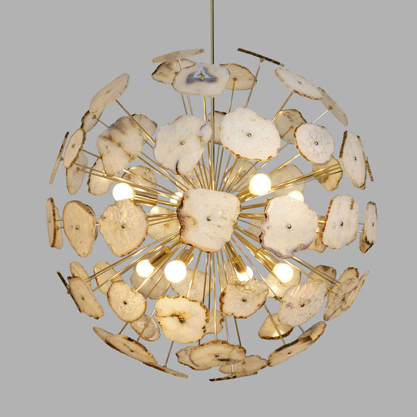Modern Brass Large Agate Sliced Orb Chandelier