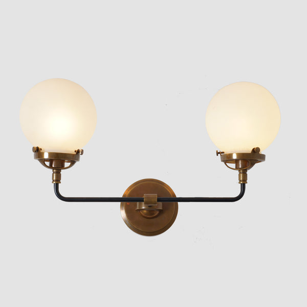 Mid Century Style Modern Brass Double Globe Wall Sconce