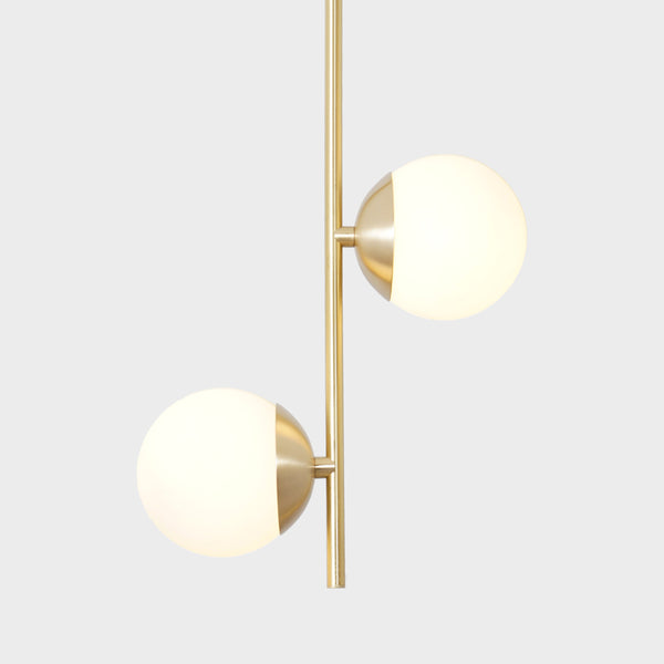 2 Globes Modern Brass Stem Pendant Chandelier Light Fixture
