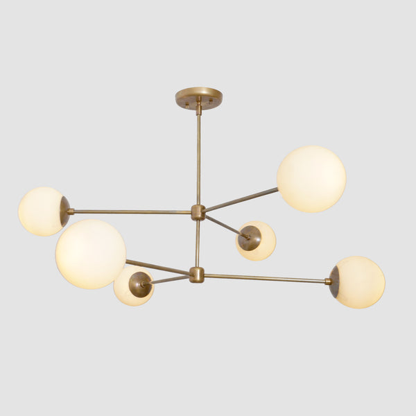 Oxford Patina Brass 3 Arm Milky Glass Globe Chandelier