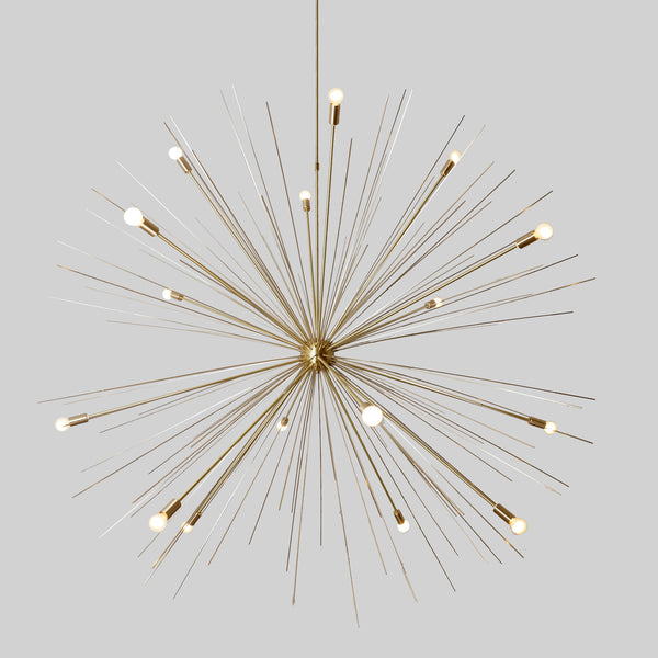 Large 50-Inches 16 Arms Brass Sputnik Starburst Urchin Chandelier