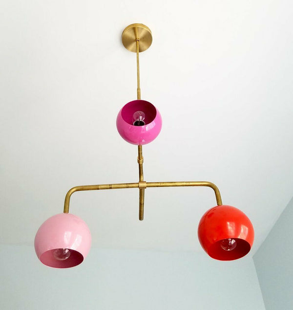 Modern Sputnik Chandelier Brass Eyeball Shade Mid Century Ceiling Fixture Light