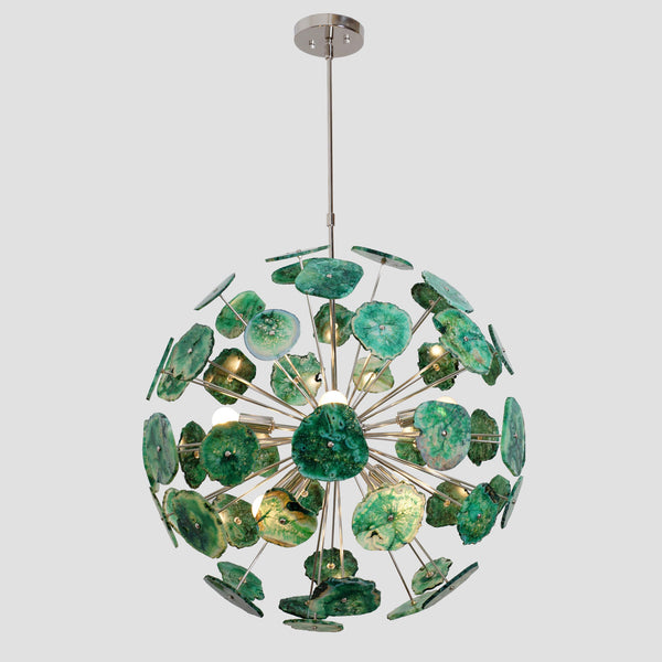Handcrafted Green Agate Stone Ceiling Light Sputnik Chandelier