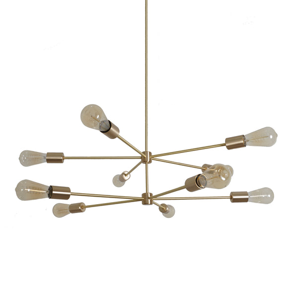 10 LIGHT MODERN BRASS SPUTNIK CHANDELIER