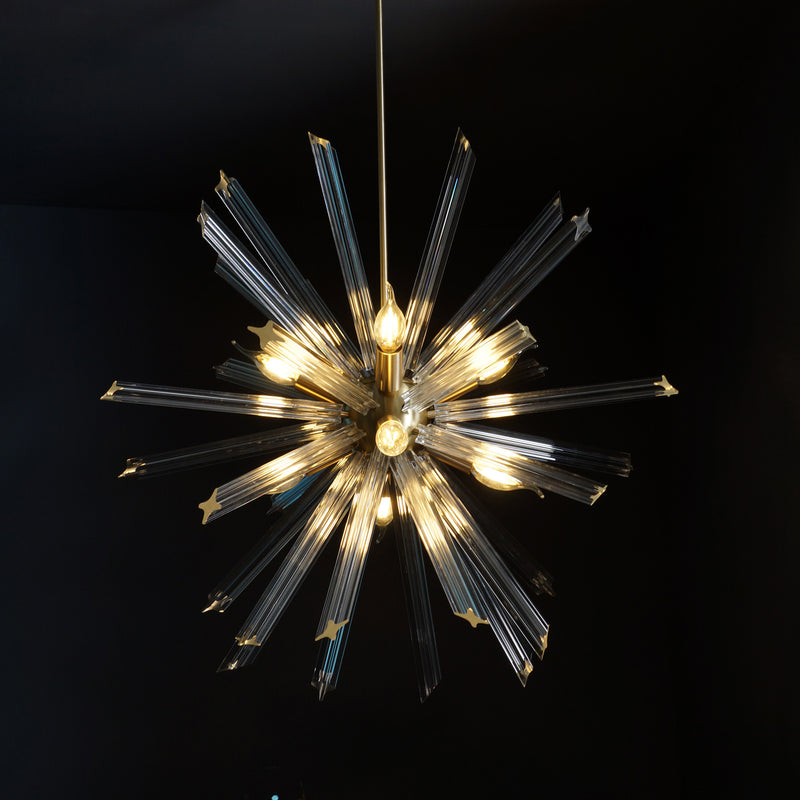 Modernist Murano Glass Triedre Brass Sputnik Chandelier Light Fixture