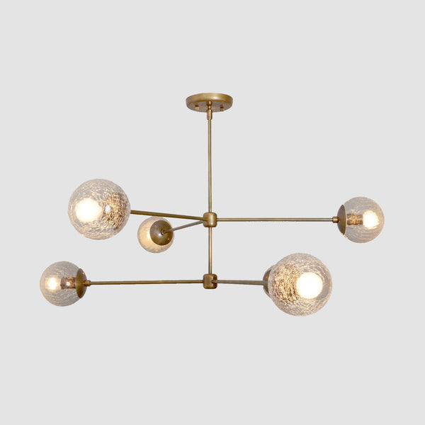 Oxford Patina Brass 3 Arm Cracked Glass Globe Chandelier