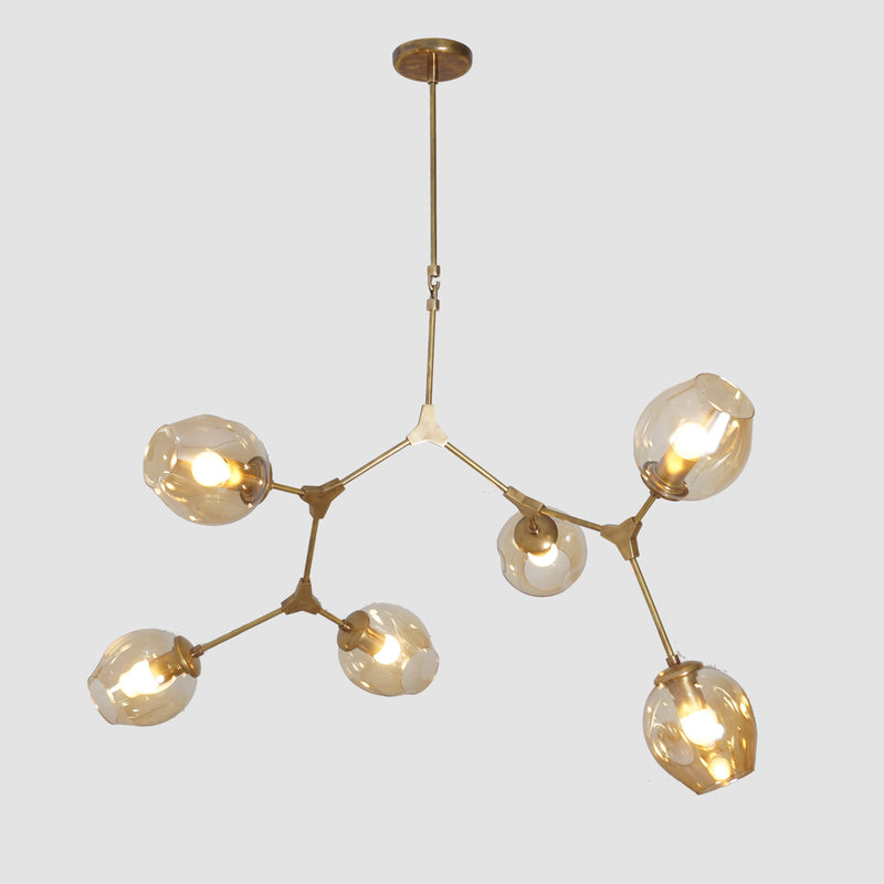 Modern Brass 6 Globe Branching Bubble Chandelier