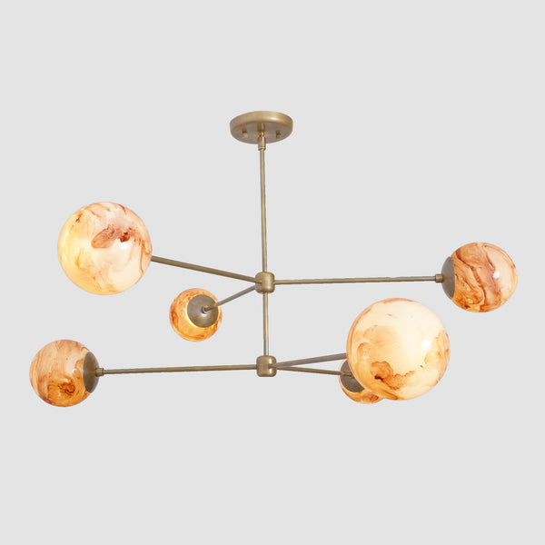 Oxford Patina Brass 3 Arm Moon Glass Globe Chandelier