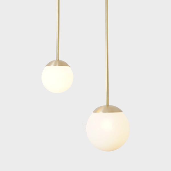 Double Globes Modern Brass Stem Pendant Chandelier Light Fixture
