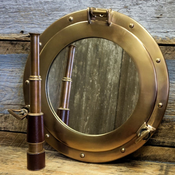 Antiqued Bronze 15 Inch Porthole Mirror - Doozie Light Studio