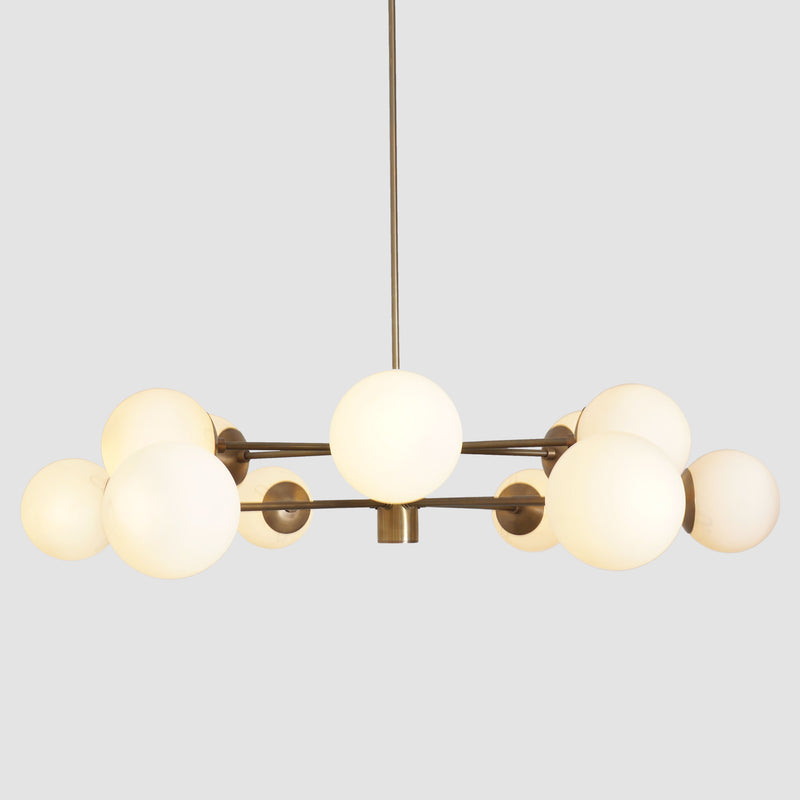 Karrington 12 Light Modern Brass Sputnik Opal Glass Chandelier