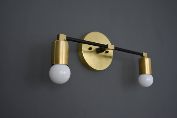Modern Brass Wall Sconce Vanity Gold Brass 2 Bulb Round Sconce - Doozie Light Studio