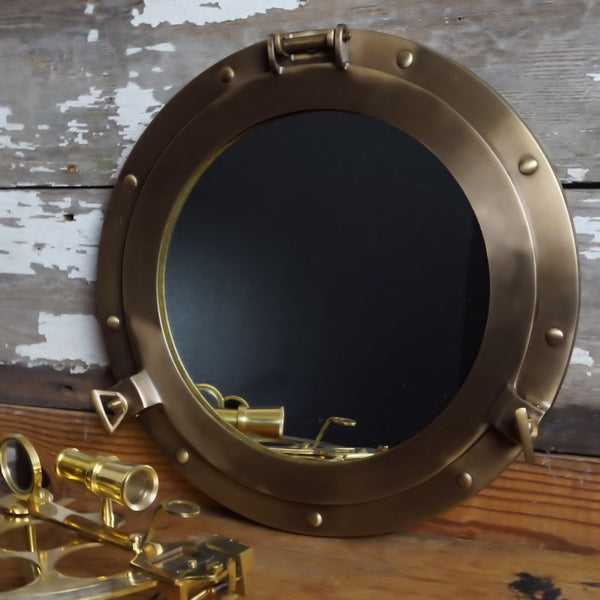 Modern Antiqued Brass Porthole Mirror 12-Inch - Doozie Light Studio