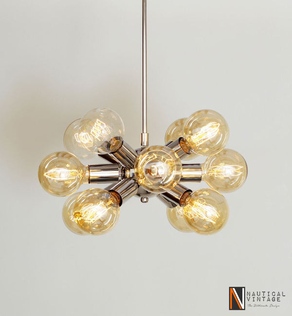 Industrial Vintage Chrome Brass Hanging Ceiling Sputnik Chandelier with 12 Arms