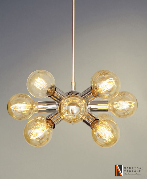 Modern Chrome Brass Hanging Ceiling Sputnik Chandelier with 12 Arms