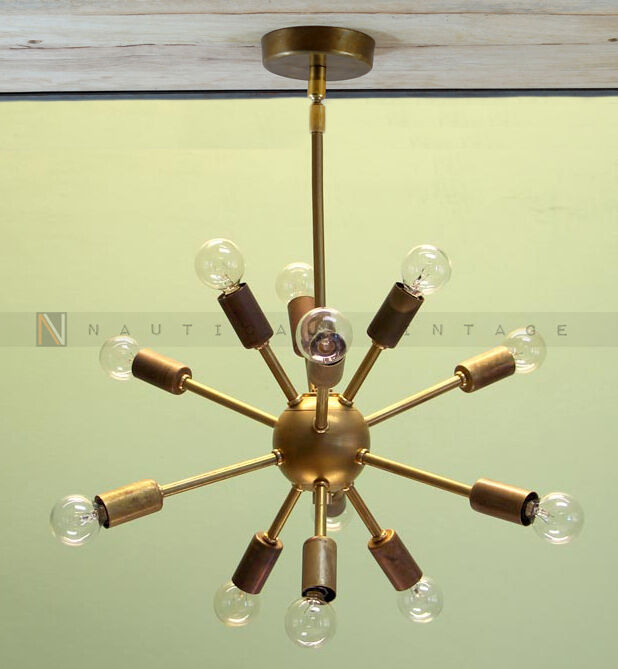 Modern Brass Mid Century 12 Arms Sputnik chandelier starburst light Fixture