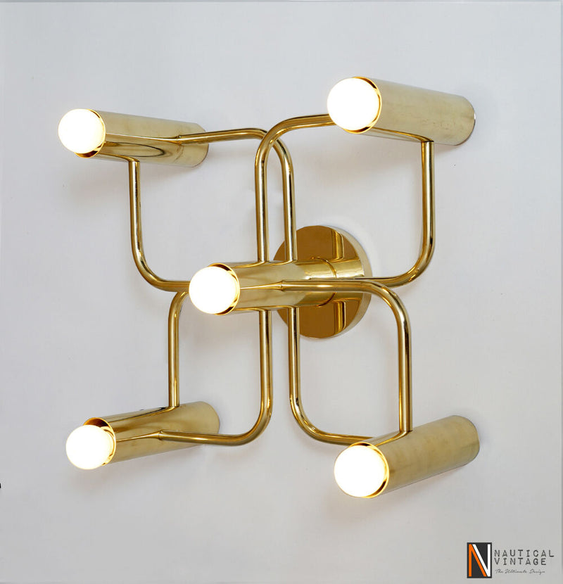 Contemporary Solid Brass Leola Wall Sconce Lamp Light Stairway Vanity Lamp