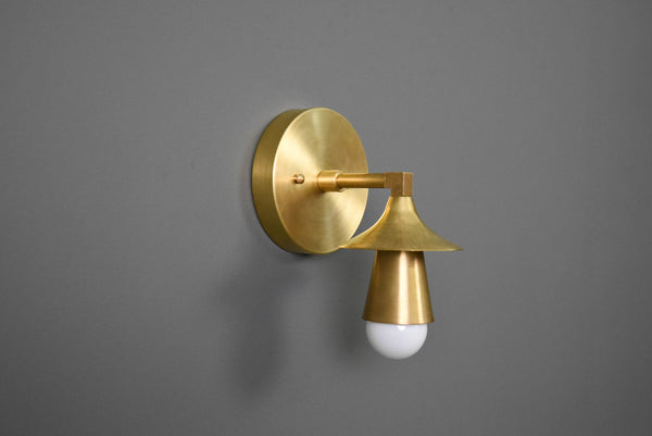 Modern Brass Wall Sconce Single Cone Light Vanity Lamp - Doozie Light Studio