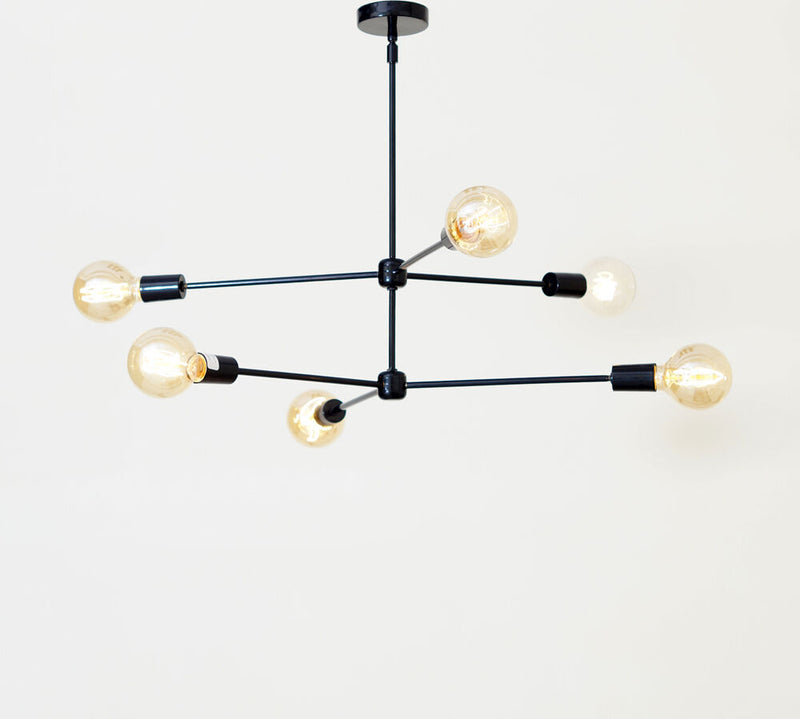 Mid century modern brass chandelier light fixture - 6 Arms Black Light Fixture