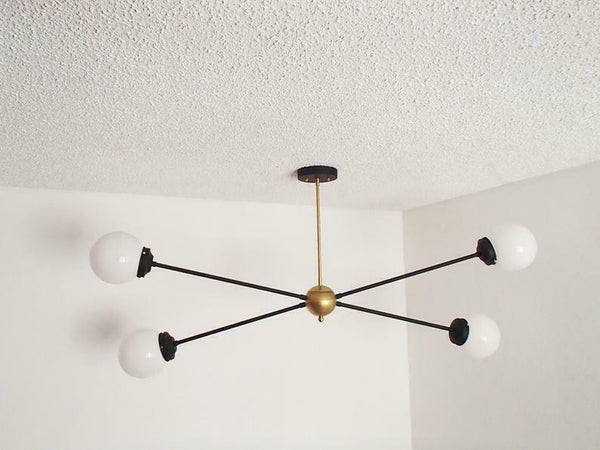 Brass Modern Pendant - Twin Glass Shades - Globe Orb - Frosted Globe Chandelier