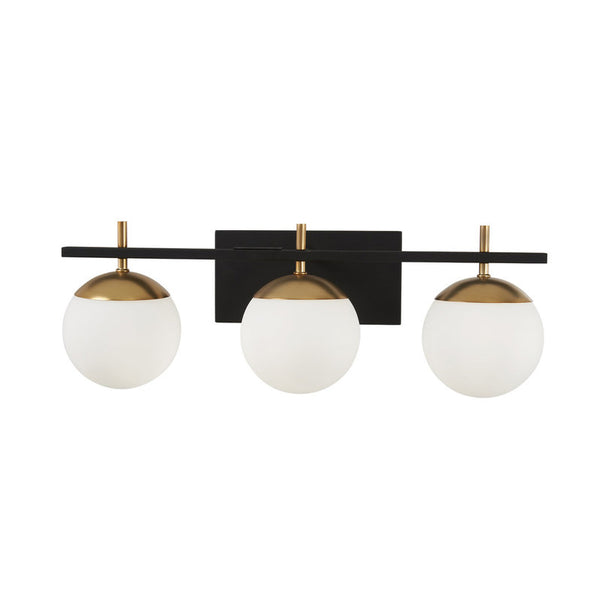 Modern Brass 3 Light Glass Globe Wall Sconce - Doozie Light Studio