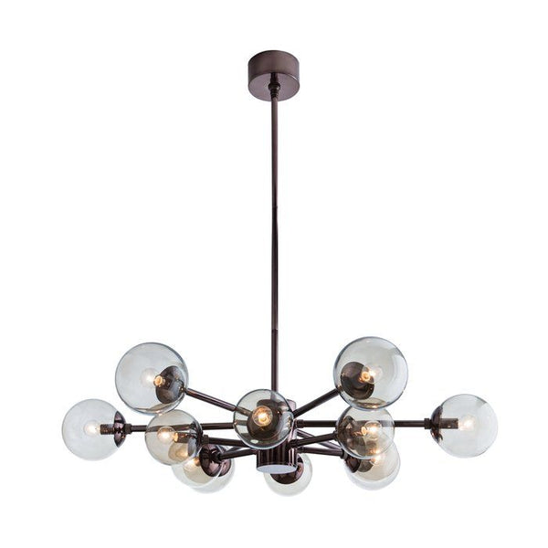 Karrington Brass 12 Light Modern Sputnik Clear Glass Chandelier