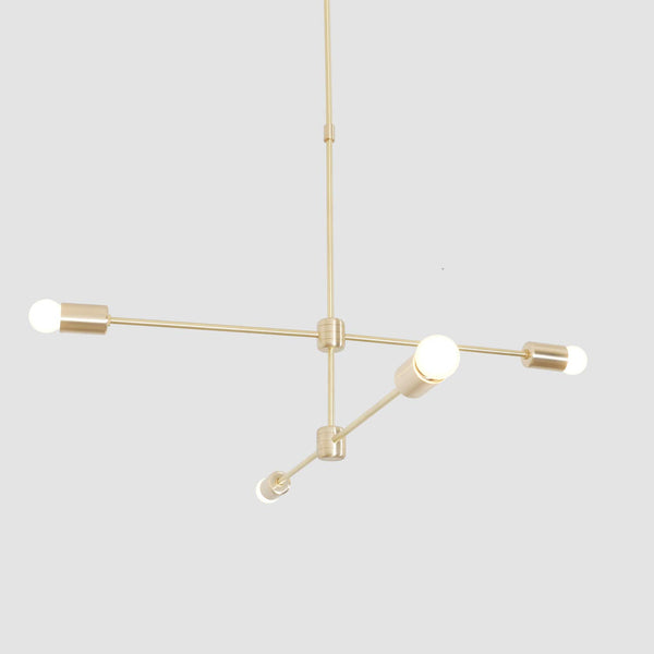 Modern Brass 4 Arm Sputnik Chandelier Light Fixture