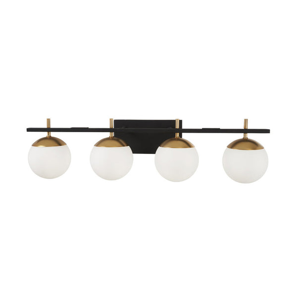 Modern Brass 4 Light Glass Globe Wall Sconce - Doozie Light Studio