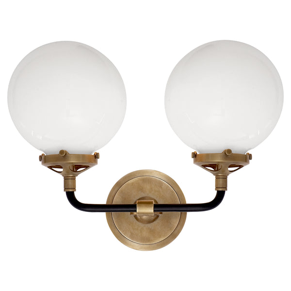 MODERN BRASS 2 LIGHT GLASS GLOBE WALL SCONCE