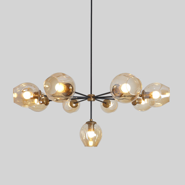 Modern Brass 9 Bubble Globe Chandelier Ceiling Light Fixture