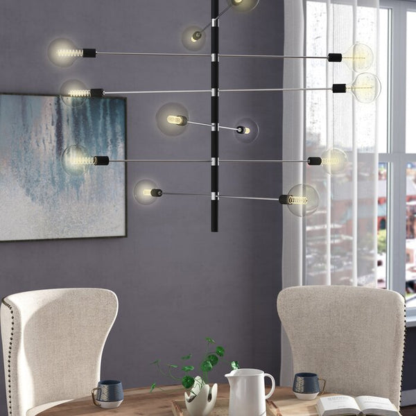 Candice 12-Light Modern Brass Sputnik Linear Chandelier