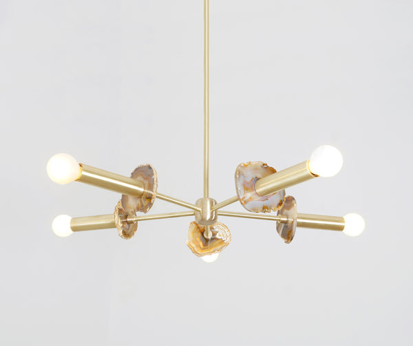 Modern Brass Agate 5 Arm Sputnik Chandelier Semi Flush Mount Agate Stone Light Fixture - Doozie Light Studio