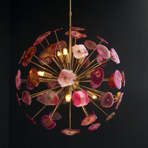 Modern Brass Sputnik Chandelier Light Fixture With Pink Agate Stone - Doozie Light Studio