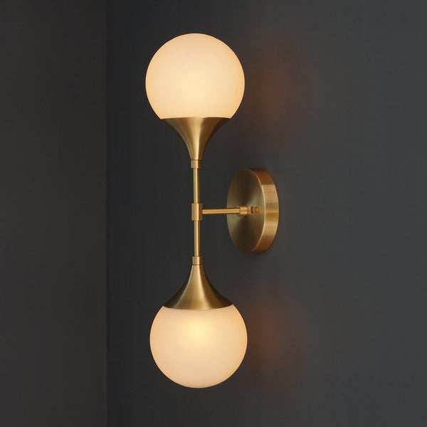 Modern Brass 2 Lights Armed Glass Globes Wall Sconce - Doozie Light Studio