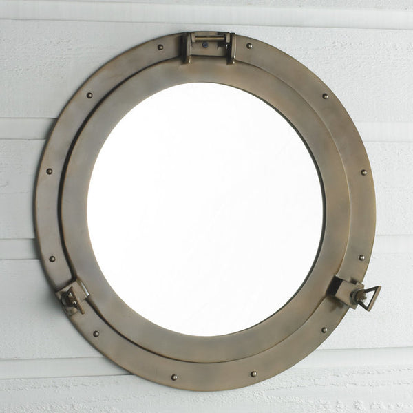 "Nautical Brass Large Porthole Mirror 20""D - Doozie Light Studio"