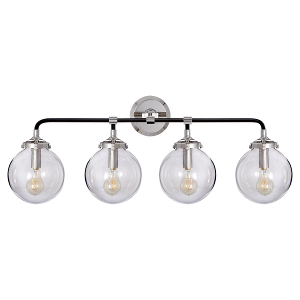 Modern Brass 4 Light Glass Globe Wall Sconce