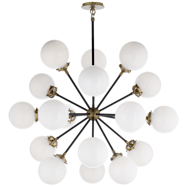 Modern Brass Round Bistro Globe Chandelier - 12 Light Chandelier - Doozie Light Studio