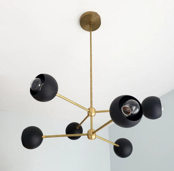 Contemporary Brass 6 Arm Globe Shades Chandelier