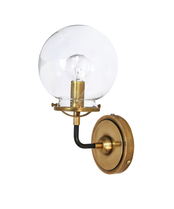 Mid Century Style Modern Brass Globe Wall Sconce