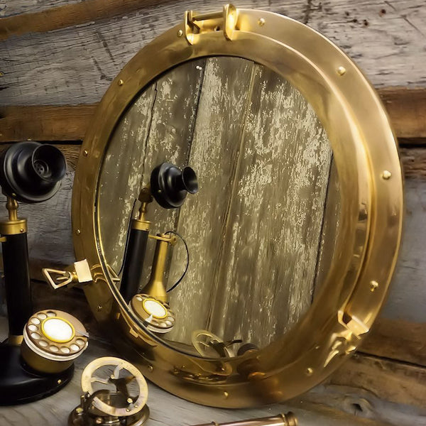 Large Nautical Polished Brass Porthole Mirror - Doozie Light Studio