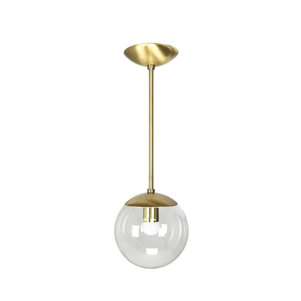 "Modern Brass Globe Pendant 8"" - Doozie Light Studio"