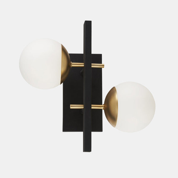 Modern Brass Double Globe Wall Sconce - Doozie Light Studio