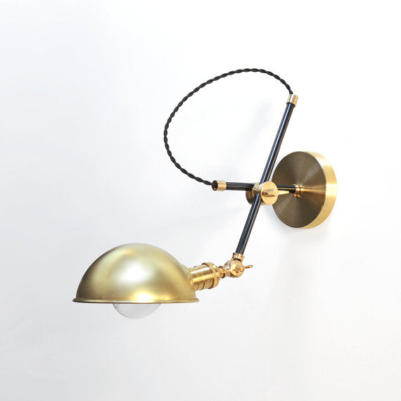 Modern Brass Adjustable Articulating Wall Lamp - Doozie Light Studio