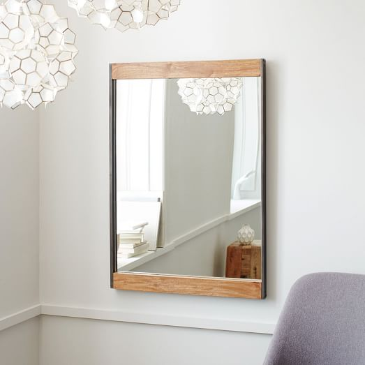 Industrial Style Iron + Wood Wall Mirror - Doozie Light Studio