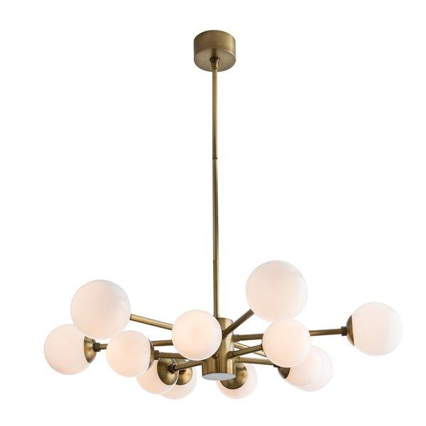 Karrington Brass 12 Light Modern Sputnik Opal Glass Chandelier