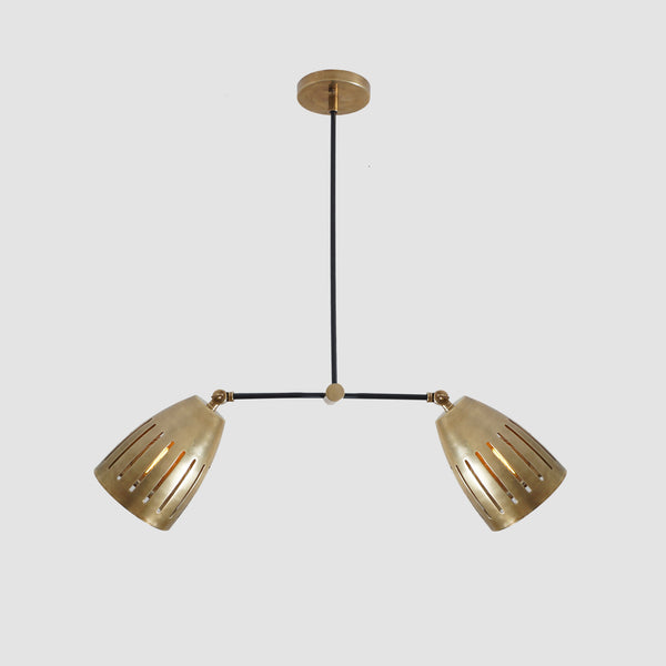 Double Shade Brass Counterweight Pendant Lamp