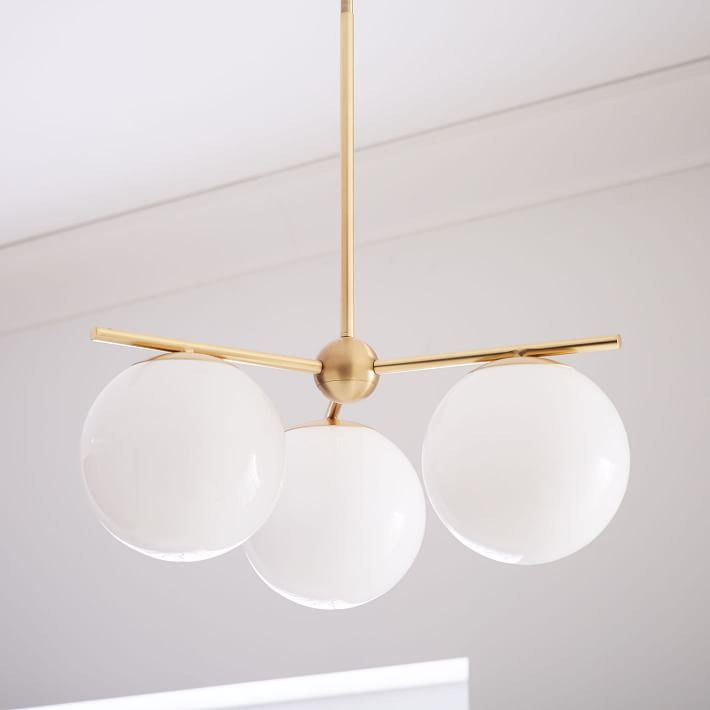 Modern Brass 3 Glass Sphere Globe Chandelier - Doozie Light Studio