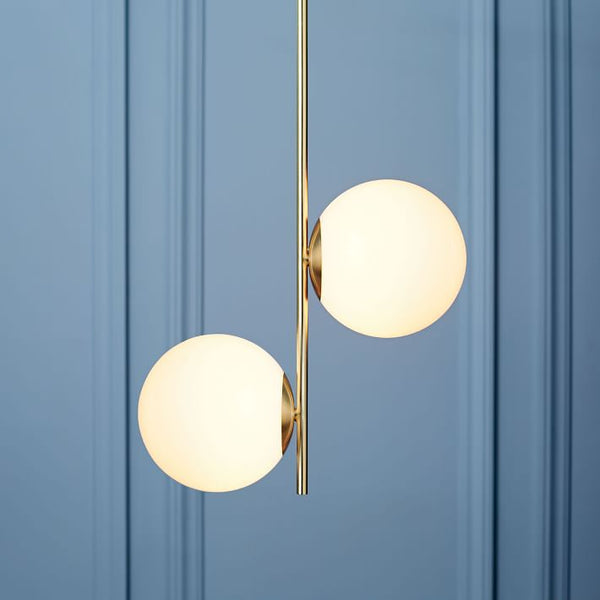 Modern Brass 2 Lights Glass pendant Chandelier
