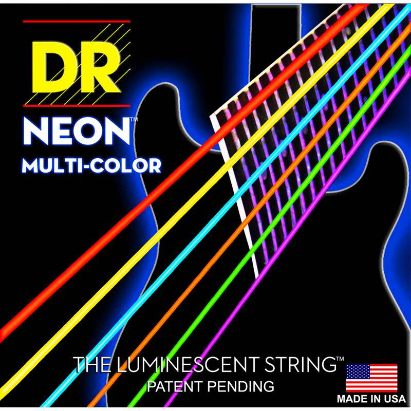 DR Strings Neon Multi-Colour Electric Medium